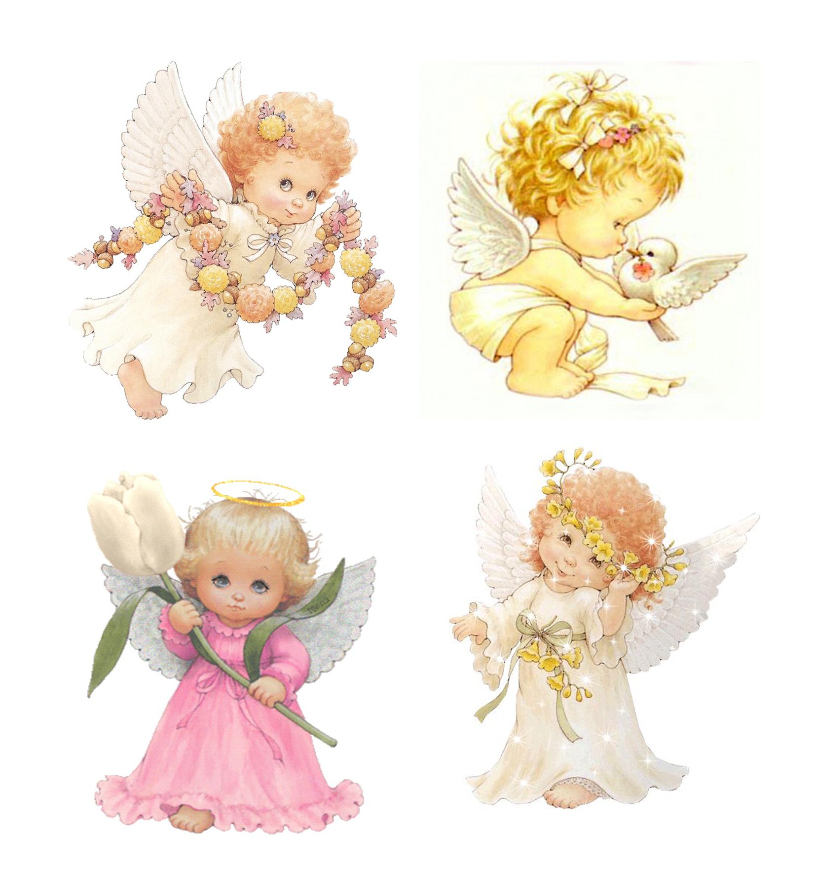 Рисунок ангелочек с подарком 83
